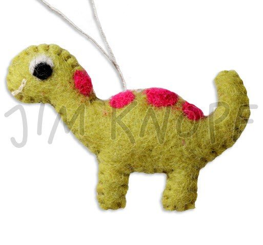 Jim Knopf - Dino the Dinosaur Hand-crafted 3D Wool Felt; Green & Pink; 40mm (13148)
