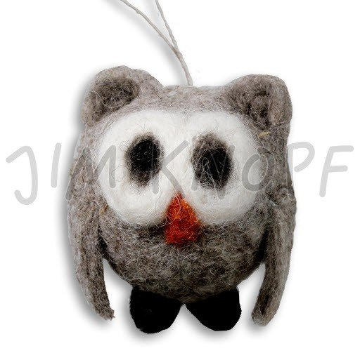 Jim Knopf Hand-crafted 3D Wool Felt Owl Taupe (13047)