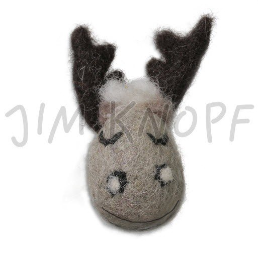 Jim Knopf Hand-crafted 3D Wool Felt Stag Head Taupe 52mm (12664)