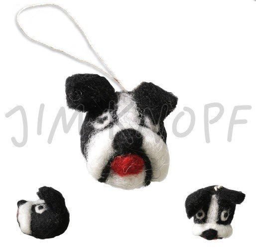 Jim Knopf - Bingo the Boston Terrier; Hand-crafted 3D Wool; 40mm (13056)