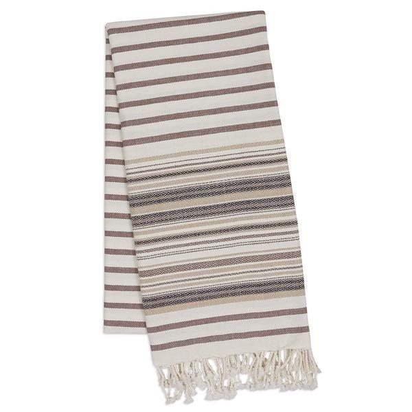 French Taupe Stripe Fouta Towel 39 x 78 - 29032