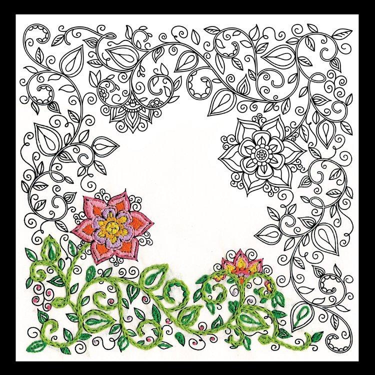 Garden Fabric Panel 10 x 10 (design size)  - Zenbroidery