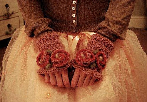 Rosy Wristlets by Tiny Owl Knits