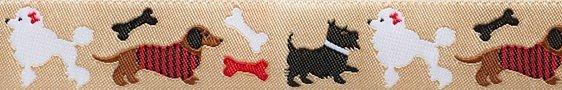 Renaissance Ribbons Dogs on Tan