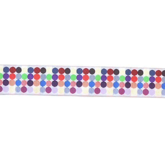 1.5in Poly/Jacquard Ribbon White Multi