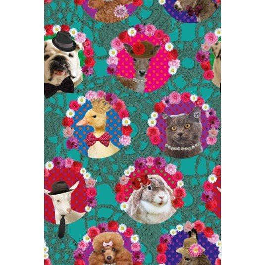 Stenzo Textiles Poplin Digital Print Fabric - Animals with Hats on Green