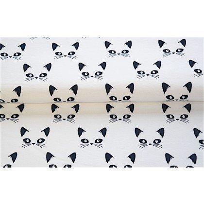 Stenzo Textiles Jersey Bio Cotton Fabric - Cat Faces/White background