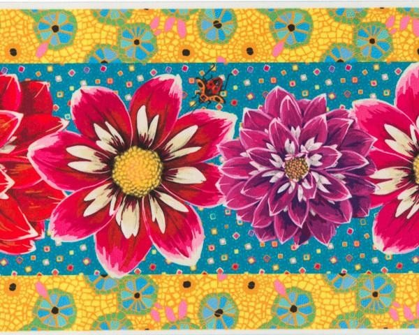 Odile Bailloeul Printed Velvet Border - Red Purple & Pink Dahlias on Turquoise & Yellow 6.5 inch
