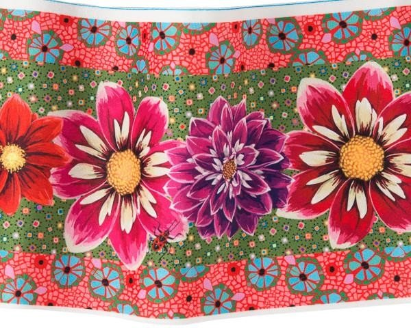 Odile Bailloeul Printed Velvet Border - Red Purple & Pink Dahlias on Green & Orange 6.5 inch