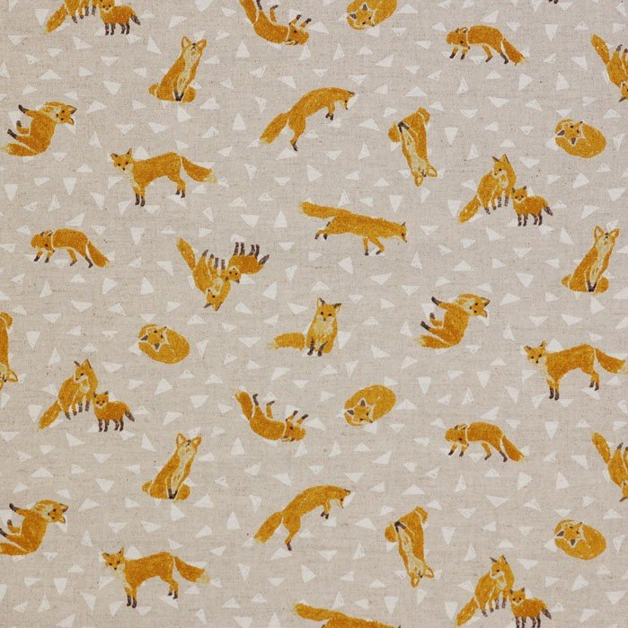 Seven Islands Inc Cosmo 80C/20L Ltwt Canvas Fabric 45 - Foxes & Triangles on Beige