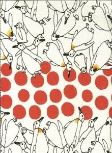 Penguins & Coral Dots on White; Kobayashi Textiles Fabric 45 in wide; Seven Islands