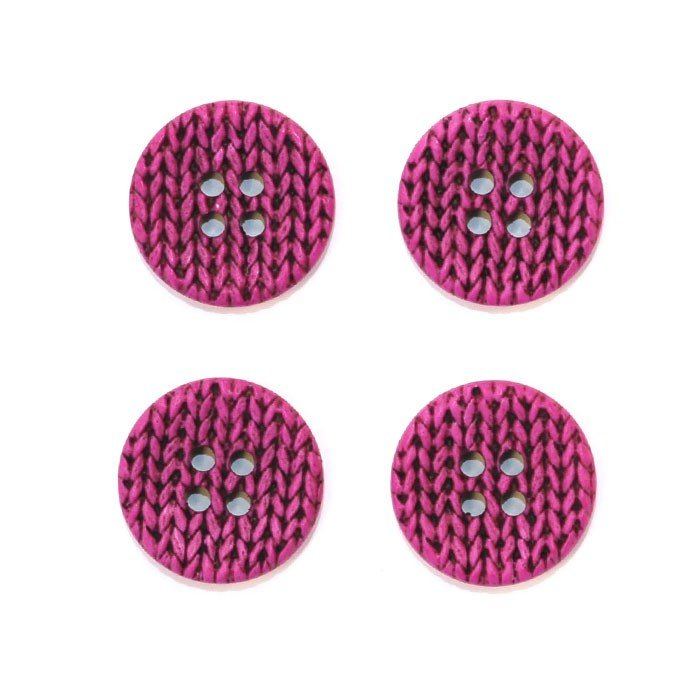 Knitting Imprint Button - Magenta