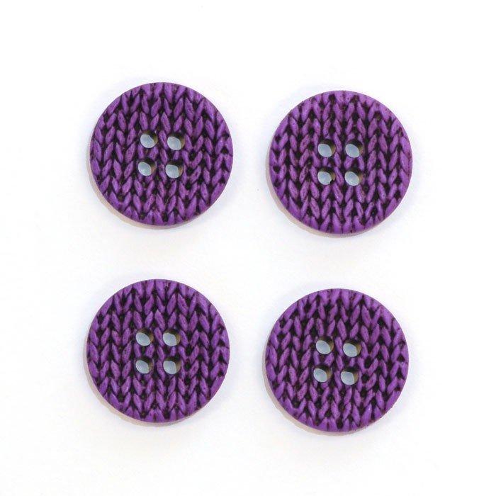 Knitting Imprint Button - Purple