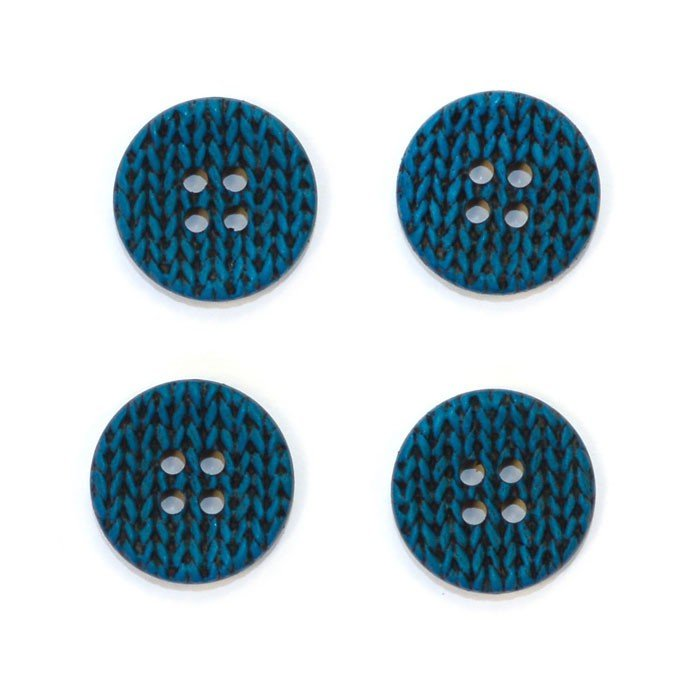 Knitting Imprint Button - Turquoise