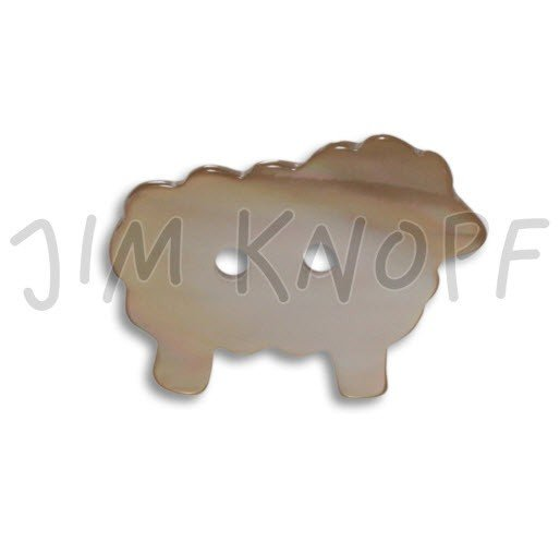Jim Knopf Hand-crafted Shell Sheep Button Brown 36mm (11736)