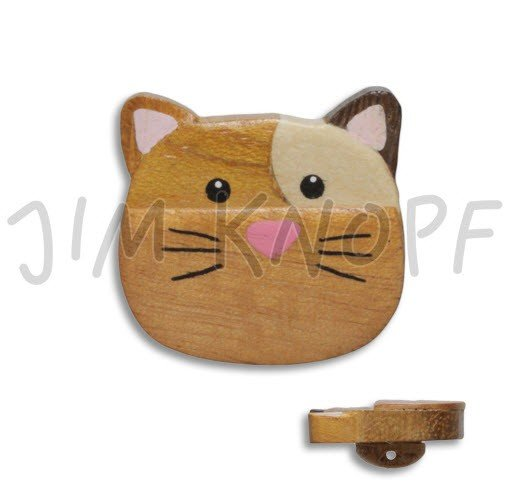 Jim Knopf Hand-crafted Wood Cat Button Natural w/paint 44mm (12109)
