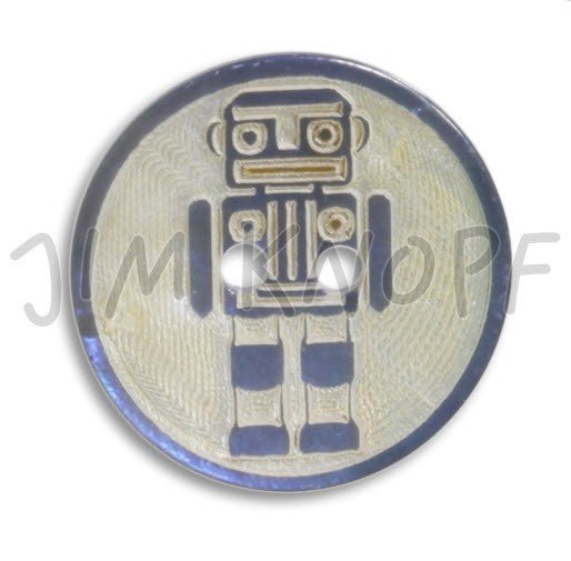 Jim Knopf Hand-crafted Agoya Shell Button Laser carved Robot Blue 28mm (12456)