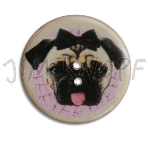 Jim Knopf Hand-crafted Coco Wood Button w/printed Pretty Mops the Dog 40mm (12482)