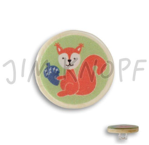 Jim Knopf Hand-crafted Coco Wood and Resin Button Squirrel Green 28mm (13088)
