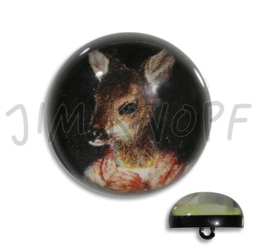 Jim Knopf Hand-crafted Resin Button w/Praying Bambi 36mm (12774)