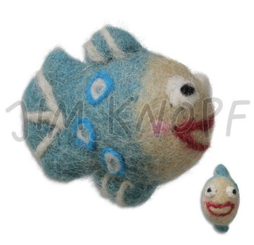 Jim Knopf Hand-crafted 3D Wool Felt Papo the Fish Turquoise 82cm (12792)