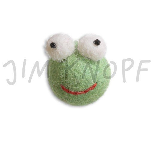Jim Knopf - Blupp the Frog; Hand-crafted 3D Wool Felt; Green (12331)
