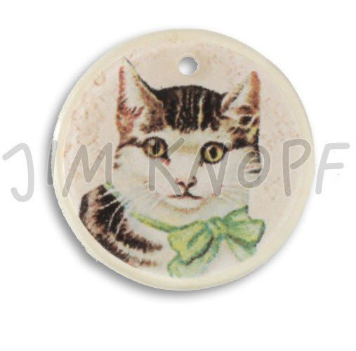 Jim Knopf Hand-crafted Coco Wood and Resin Button Cat on Ecru 40mm (13090)