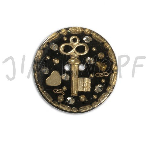 Jim Knopf Hand-crafted Resin Button w/Golden Key and Trinkets Black Background 42cm (13105)