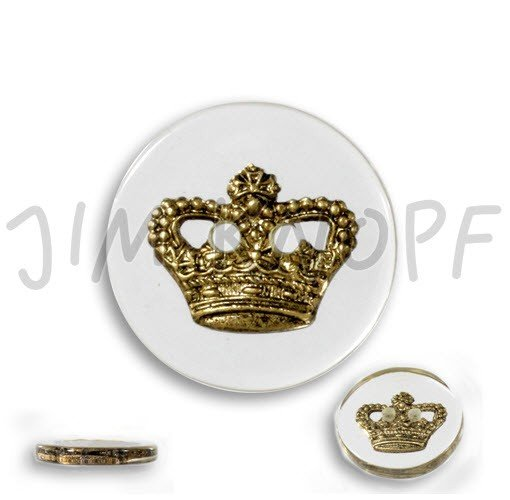 Jim Knopf Hand-crafted Resin Button w/Golden Crown Transparent 32cm (13125)