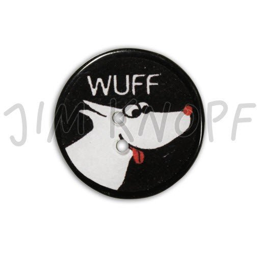 Jim Knopf Hand-crafted Resin Button with Dog Face and WUFF on it Black 32mm (13211)