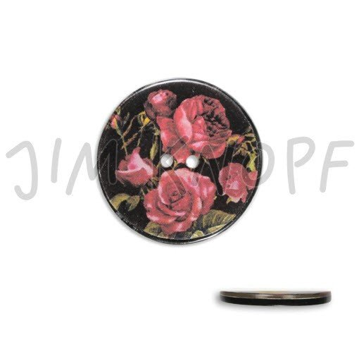 Jim Knopf Hand-crafted Resin Button with Assorted Roses Black Background 34mm (13310)