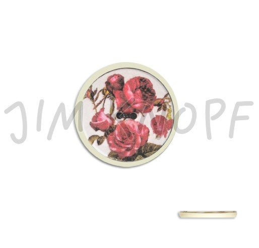Jim Knopf Hand-crafted Resin Button with Assorted Roses White Background 34mm (13310)