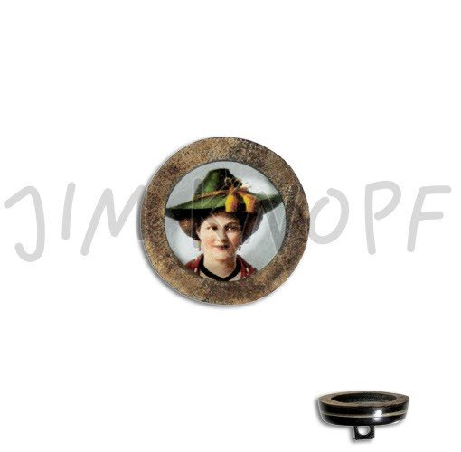 Jim Knopf Hand-crafted Real Horn Button with Traditional German Woman in Center 34mm (13318)