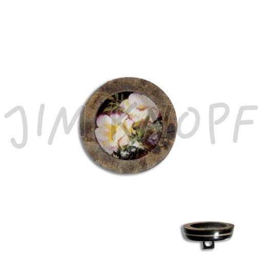 Jim Knopf Hand-crafted Real Horn Button with Flowers in Center 34mm (13324)