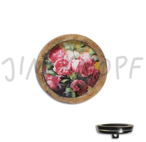 Jim Knopf Hand-crafted Real Horn Button with Roses in Center 34mm (13324)