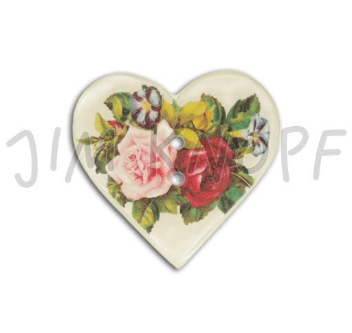 Jim Knopf Hand-crafted Resin Button Heart Shaped with Roses Ecru Background 36mm (13325)