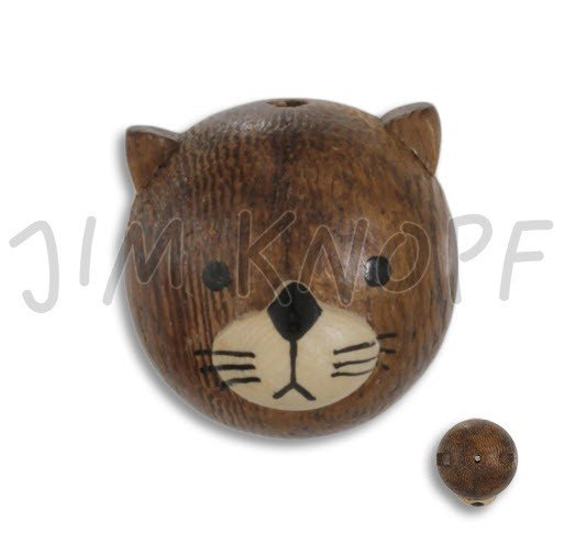 Jim Knopf Hand-crafted Wood Bead Shaped like a Cat (80355)
