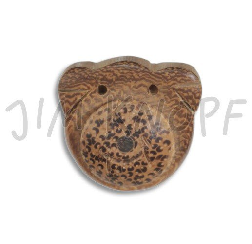 Jim Knopf Hand-crafted Coco Wood 3D Bear Button Brown w/spkld nose 36mm (10050)