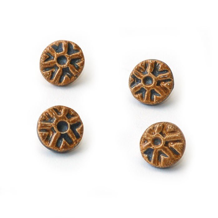 Ginger Steele Buttons - Ceramic Tiny Wheels Gold Blue; 16 mm; sold individually