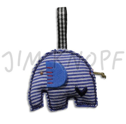 Jim Knopf Hand-crafted Fabric 3D Striped Elephant Blue (50572)