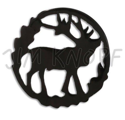 Jim Knopf Hand-crafted Hanger Carved Horn Elk Sillouhete Black 80mm (80437)