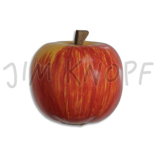 Jim Knopf Hand-crafted Wood Button 3D Painted Apple red & yellow 32mm (12149)