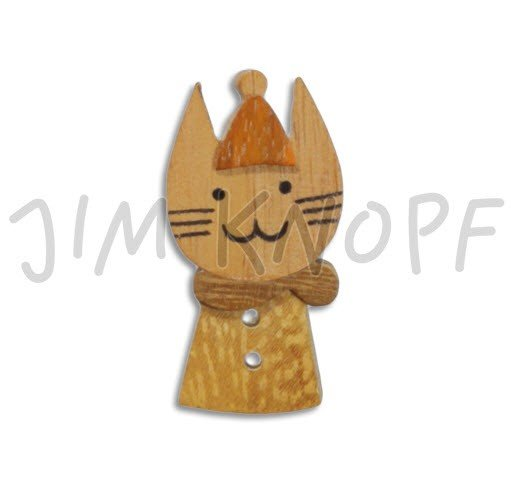 Jim Knopf Hand-crafted Wood Button Cat Face & Body Brown 30mm (12632)