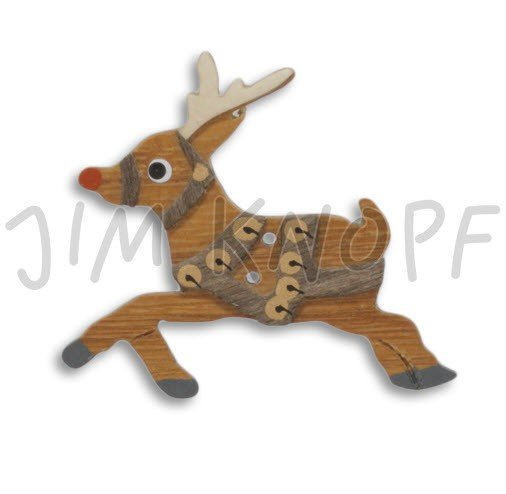 Jim Knopf Hand-crafted Wood Button Reindeer 68mm (11408)