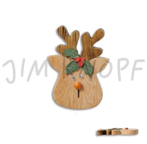 Jim Knopf Hand-crafted Wood Button Reindeer Head Brown 50mm (13140)