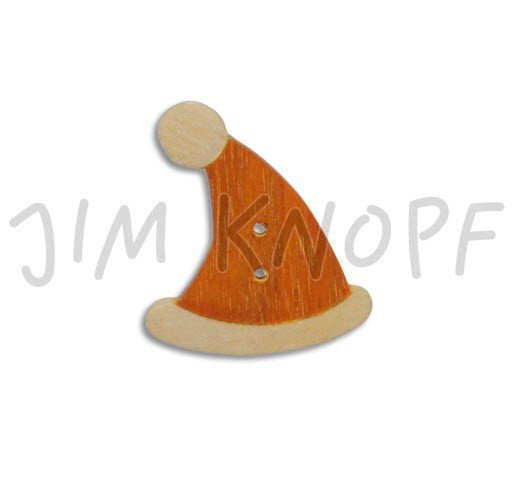 Jim Knopf Hand-crafted Wood Button Santa Hat 42mm (11996)