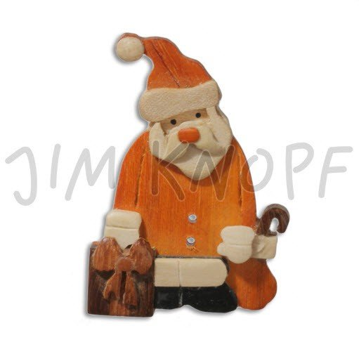 Jim Knopf Hand-crafted Wood Button Santa with Gifts 80mm (11459)