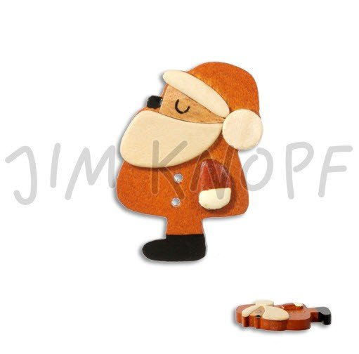 Jim Knopf Hand-crafted Wood Button Side View of Santa Claus Brown 50mm (13140)