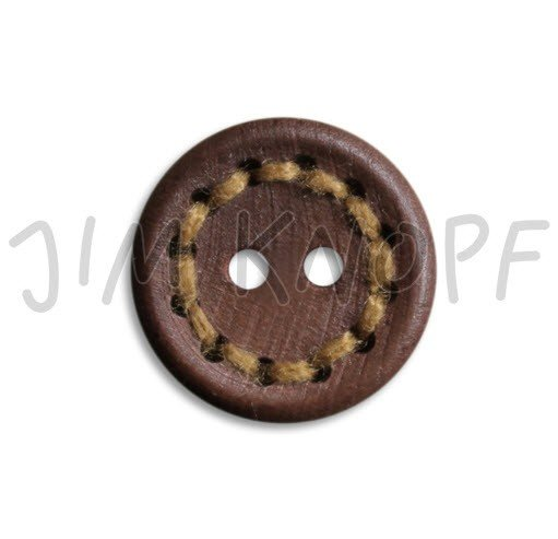 Jim Knopf Hand-crafted Wood Button w/Stitching Brown w/ Yellow 24mm (12227)