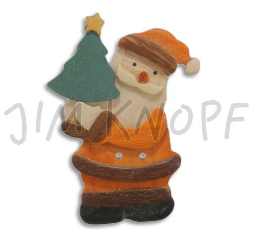 Jim Knopf Hand-crafted Wood Wood Santa w/Christmas Tree Button 70mm (11405)